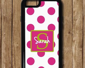 Pink iPhone 6s Case, Monogram iPhone 6s case, Polka Dots iPhone 6 plus Case, Pink iPhone 5 phone case, Pink Polka Dot iPhone with Monogram