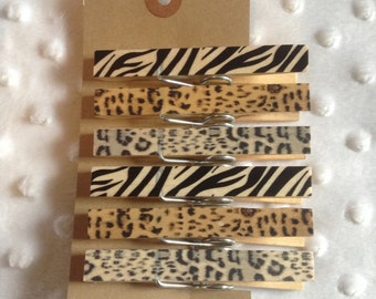 Animal Print Paperclip Clothes Pegs - Pretty Hand-Finished Animal Print Clothes Peg Paper Clips