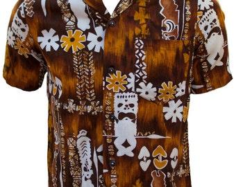 1960s Medium Shirt Mens Hawaiian Tropical Tiki Resort Brown Polynesian Retro BBQ Summer Beach Vacation Honeymoon Tribal Luau Native Brown