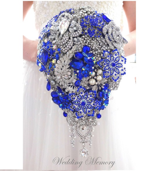 Brooch bouquet waterfall cascading design with pearls in for Waterfall design etsy