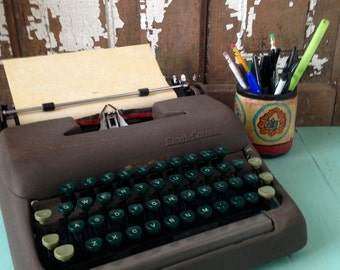 Vintage Smith Corona Portable Typewriter, With Case,  From the 1950's, Industrial Chic, Office Decor, Antique Typewriter