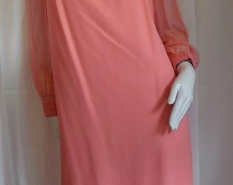 Jackie O Formal Pink Coral Silky Dress Rayon Chiffon Sheer Sleeve Carol Brent 14/40