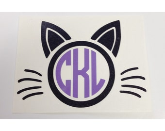 Cat Monogram Decal | Yeti Cup Decal | Tumbler Decal | Car Decal | Laptop Decal | Custom Decal | Vinyl Decal | Cat Lover | Cat Lady