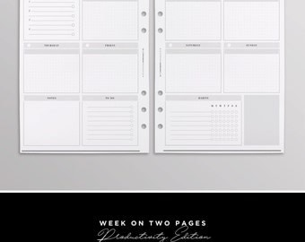 PRINTED WO2P Productivity Edition | Weekly Planner Inserts | Week On Two Pages | Undated Planner Calendar | Yearly Planner Pages for Kikki K