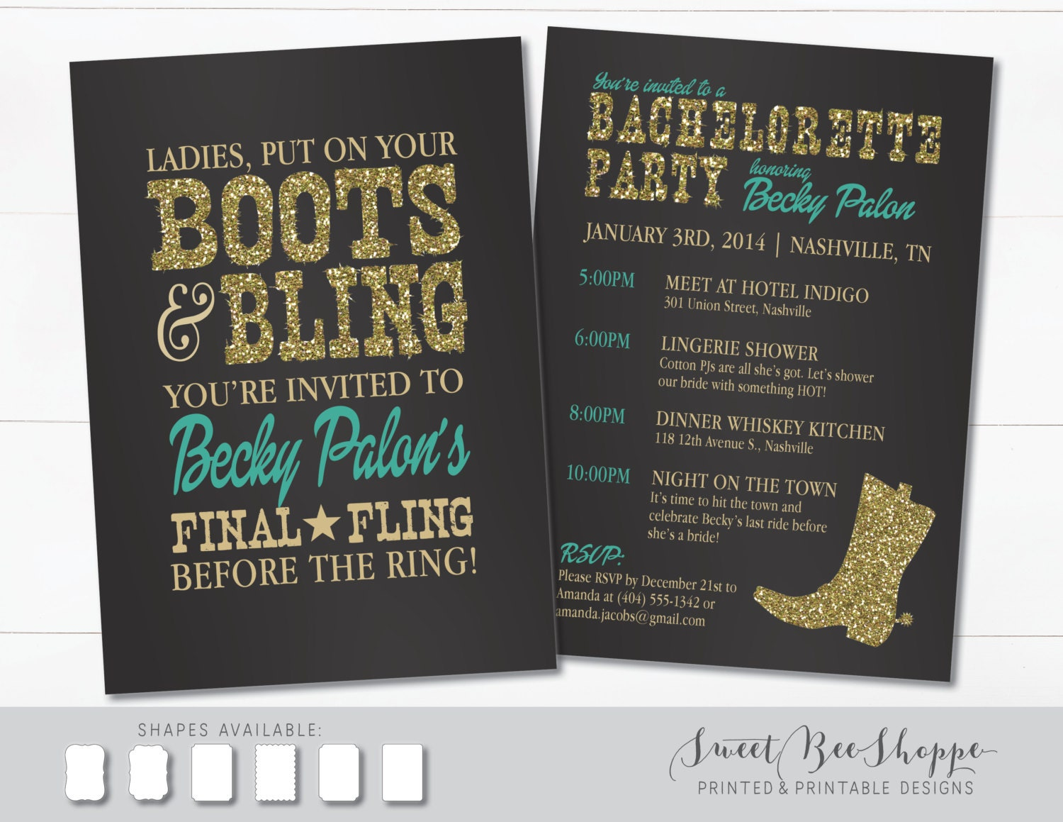 country western bachelorette party invitation boots  u0026 bling