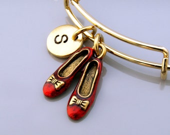 Ruby red slippers bracelet, wizard of oz charm, magical shoes, Gold ruby red slippers bangle, Expandable bangle, Initial bracelet
