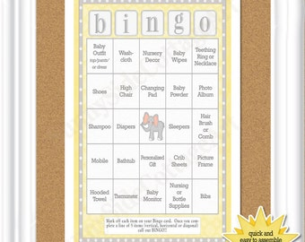 "66 card ""baby bingo"" in soft yellows and greys with a baby elephant, 66 pre-populated bingo cards,  (35 ba)"