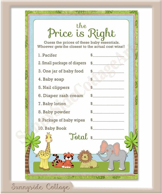 baby shower game printable baby safari themed the price is right game
