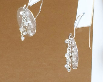 Sterling Silver Textured Disc Dangle Earrings