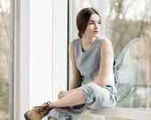 Loose Linen jumpsuit. Ice blue/silver grey washed  linen jumpsuit/ linen overall