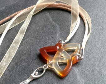 Agate Triquetra and Goddess Necklace