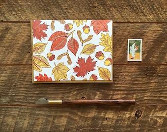 Fall Leaves, Letterpress Folded Note Card, Blank Inside
