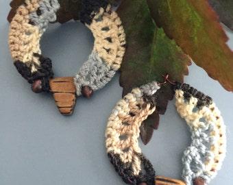 Multi Colored Rust/Gray Crochet Hoop Earrings