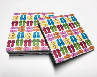 Flip Flop Coasters - Summer Decor - Beach Decor - Drink Coasters - Tile Coasters - Ceramic Coasters - Table Coasters On Sale