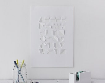 Hand Cut Paper Typography / Alphabet - White A3/A4