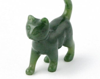 Canadian Nephrite Jade Carving, Cat Walking