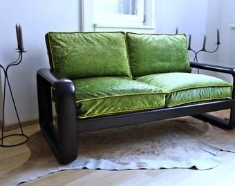 Midcentury Designsofa, small elegant wooden sofa, Design Burkhard Vogtherr for Rosenthal Germany, redesigned wooden midcentury sofa