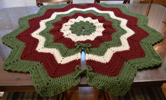 Crochet victorian christmas tree skirt ready to