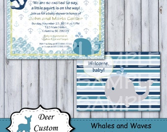 Whales and Waves Baby Shower Invitation | Whales and Waves Nursery | Printable or Printed |  Whales Waves Anchor Nautical | Whales n Waves