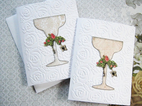 Champagne Glass Note Cards, Embossed note cards, Celebration card, Party invite, champagne glass, flowers, embossed roses, all occasion card