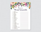 Floral Baby Shower Word S...
