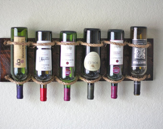 Wall Wine Rack - Rustic Rope Wine Rack Cradles 6 Bottles Vertical or Horizontal