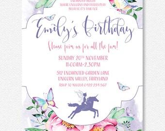 ENCHANTED GARDEN Fairy & Unicorn Party Invitation |  Personalised Digital file