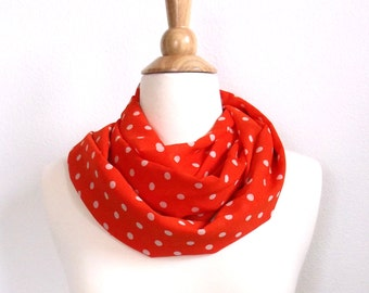 Orange and White Polka Dot scarf, Infinity scarf, Orange and white polka dot, Loop scarf, circle scarf, Gifts for her