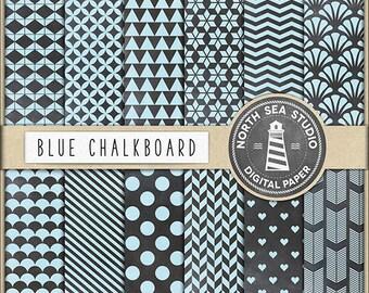 CHALKBOARD PAINT, Digital Paper Pack | Blue Chalk Scrapbook Paper | Printable Backgrounds | 12 JPG, 300dpi Files | BUY5FOR8