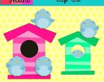 Bluebirds with Birdhouses Clip Art