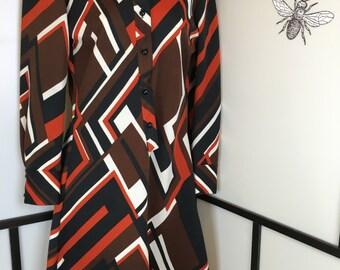 Mister Robert Dress, Geometric Dress, Brown Dress, Womens Vintage Dress, Size Large, Long Sleeve Dress, Retro Dress, Mod Dress, 70s, 60s