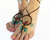 Turquoise Dream Catcher, Leather Lace Barefoot Sandals, Beach shoes, Boho Wedding, Dance, Earthing, yoga, Footwear, Foot Jewelry, toe thong