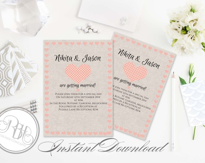"Rustic Burlap Wedding Invitation Template-INSTANT DOWNLOAD-5x7 PDF Editable Text Only-Pink Love Hearts-""Rustic Kylie"