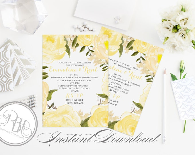 "Yellow White Watercolor Wedding Invitation Template-INSTANT DOWNLOAD-5x7 PDF Editable Text Only-Watercolor Yellow Roses Peonies-""Juliet"""