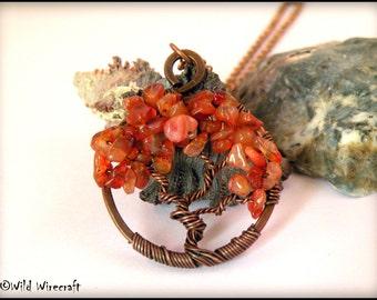 Carnelian Wire Wrapped Tree of Life Pendant, Gemstones, Handmade Jewelry, Copper Wire Tree Jewelry, August Birthstones, Wire Weaved Jewelry