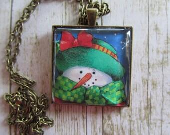 Snowman Pendant, Christmas Jewelry, Snowman Necklace, Christmas Pendant, Christmas Necklace, Glass Tile Necklace, Necklace, Stocking Stuffer