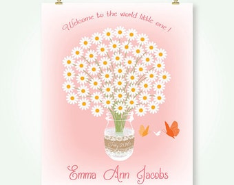 baby girl shower guest book alternative floral bridal shower wedding guestbook signature guest sign in poster printable mason jar pdf jpg