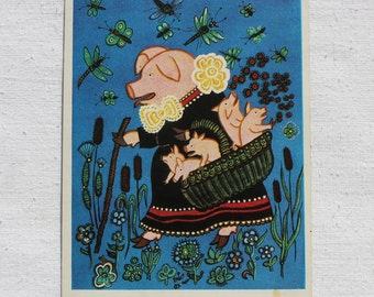 "Illustrator Y. Vasnetsov Vintage Soviet Postcard ""Piggy"" - 1975. Sovetskiy hudozhnik. Piglets, Rushes, Dragonflies, Insects"