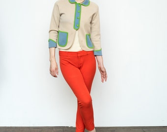Vintage 1950's Cardigan Italian Wool Colorblock Suit Mod Jacket Bolero Blazer