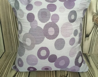 Purple Throw Pillow, Toss Pillow, Decorative Pillow, Pillow Cover,Cushion Cover, Circle Pattern ~ 16in x 16in ~ Envelope Closure