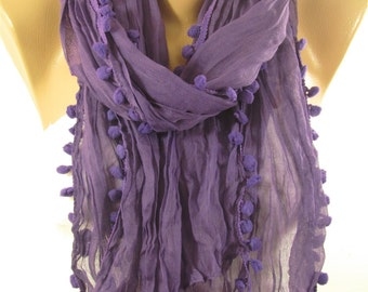 Pom Pom Scarf Purple Scarf Shawl Cowl Scarf Christmas Gift for Her For Women Fall Winter Spring Women Fashion Accessories Mothers Day Gift