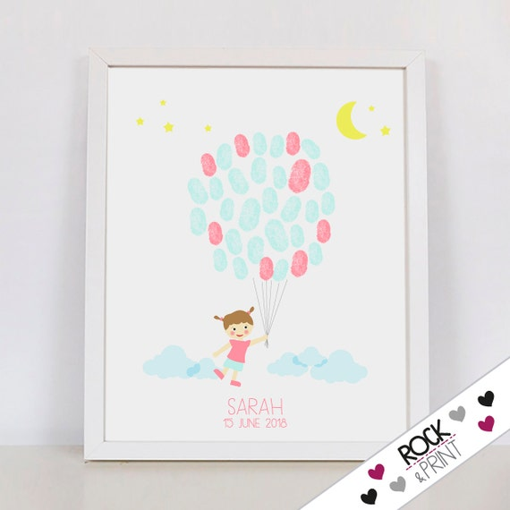 Fingerprint Balloon Girl Guestbook / Printable Pdf / First