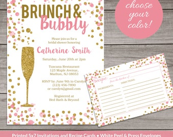 Bridal Shower Invitation Brunch and Bubbly Pink and Gold Glitter - Elegant Bridal Shower Invitation -  Bridal-146