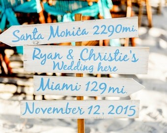 Light Blue Directional Wedding Beach Sign, Nautical Arrow Wedding Decor, Shoes Optional Arrow Wood Sign