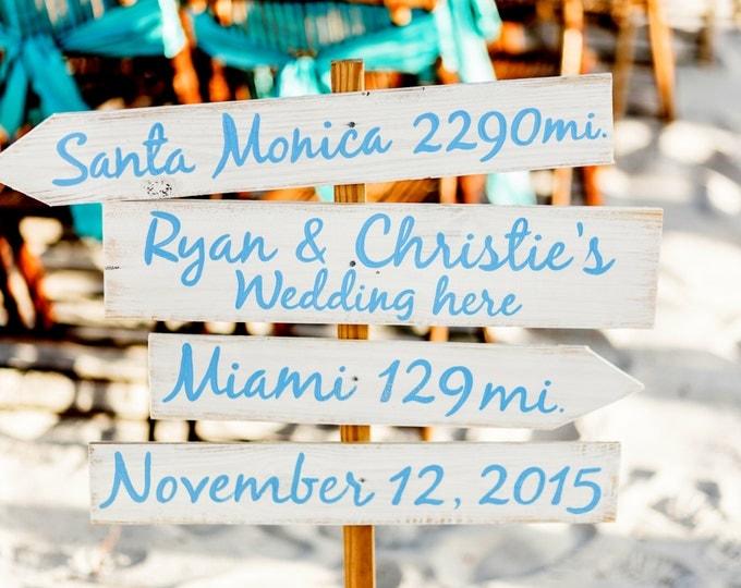 Light Blue Directional Wedding Beach Sign, Nautical Arrow Wedding Decor, Shoes Optional Arrow Wood Sign