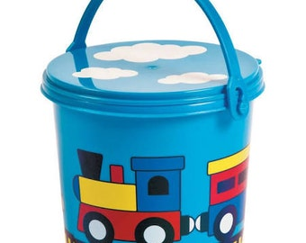 6/ Choo Choo Party Pails w/Lid / Party favor container / Treat container /Favors/ Treat holder