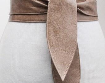 Distressed Beige Leather Obi Belt   Corset Obi Belt   Leather Cinch Belt   Leather Wrap Belt   bridal Belt   Tie Belt   Plus Size Accessory