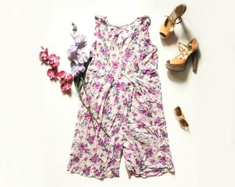 80s Floral Jumpsuit | Vintage Jumpsuit | Floral Playsuit | Boho Palazzo Pants, Wide Leg | Baggy Romper - Size L Large
