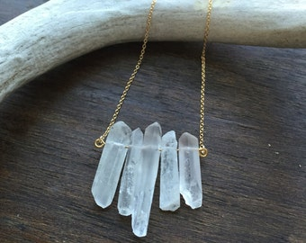 Raw Quartz Crystal Necklace