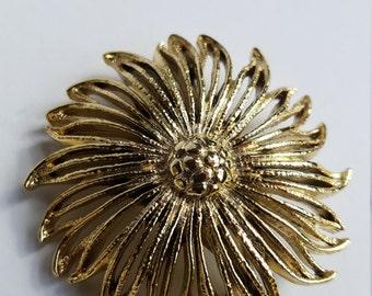 Gold Toned Metal Floral Brooch